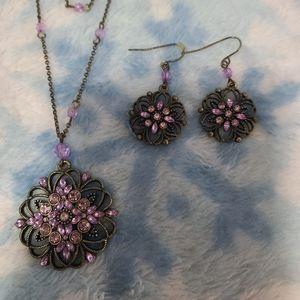 Vtg Premier Designs necklace and earrings set